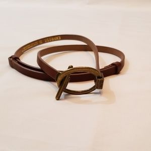 Express Brown Belt with Brush Gold Tone Buckle